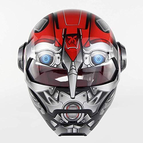 Motocicleta modular se levanta hacia arriba Casco protector, la personalidad del hombre del hierro de la cara llena vespa de la moto de carreras Casco adultos, Open Face Mask Cascos for cuatro estacio