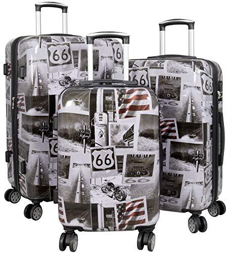 Trendyshop365 Koffer-Set Hartschale Amerika 3-teilig 4 Räder Printdesign Zahlenschloss