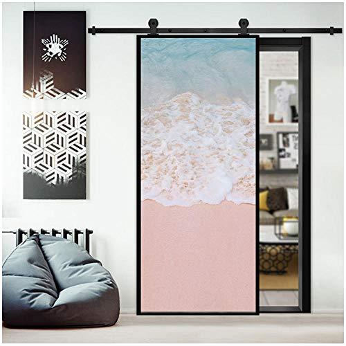 Romantische Roze zee Wave Scenery Creatieve Deur Sticker 3D Home Decoratie Woonkamer Meisje Slaapkamer Kledingkast Koelkast Verwijderbare PVC Vinyl Mural 90x200cm