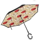Parapluie inversé Apple Modèle de Fruits mordus sur Fond Abstrait Source de vitamines Pomme nutritive Meilleure Que la Plupart des parapluies