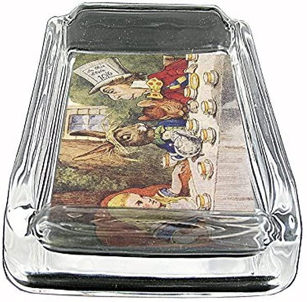Vintage Alice In Wonderland Glass Ashtray 4 X 3 D11 John Tenniel Illustration Fantasy Folklore