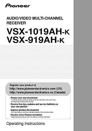 Pioneer VSX-1019AH-K Receiver Owners Instruction Manual Reprint [Plastic Comb]