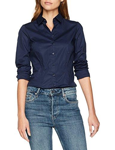 Seidensticker Damen Bluse Hemd Hemdbluse Langarm Slim Fit Uni Stretch, Blau (Navy 18), 40 (Herstellergröße: 40)