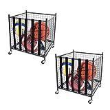 Mythinglogic Rolling Sports Ball Storage Cart, Sports Lockable Ball Storage Locker with Elastic Straps, Stackable Ball Cage for Garage Storage Garage Organizer (2 Set)