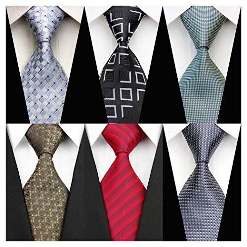 6 PCS Men's Classic Neckties Silk Woven Diamond Patterned Plaid Necktie Business Jacquard Neck Ties Diamond Patterned Silk Tie