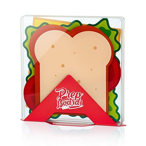 MUSTARD Senf Prep Boards–Sandwich–Funny Schneidebrett-Set mit Ständer–4Stück