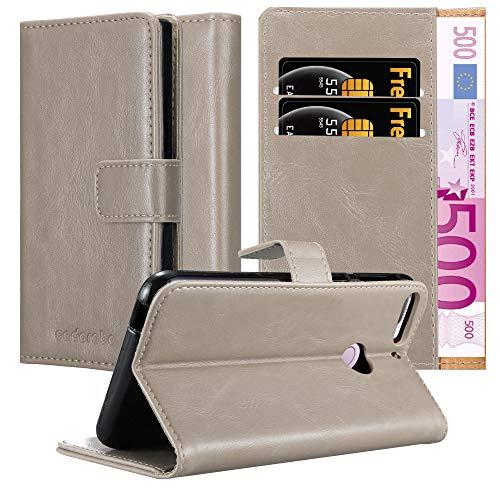 Cadorabo Hülle für HTC Desire 12 Plus in Cappuccino BRAUN – Handyhülle mit Magnetverschluss, Standfunktion & Kartenfach – Hülle Cover Schutzhülle Etui Tasche Book Klapp Style