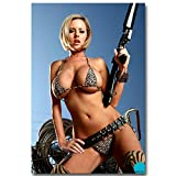 Hot Model Sexy Girl Poster with Gun Art Poster Body Art Pictures Women Wall Art for Bedroom Home Picture Wall Decor 40x65cm/Unframed