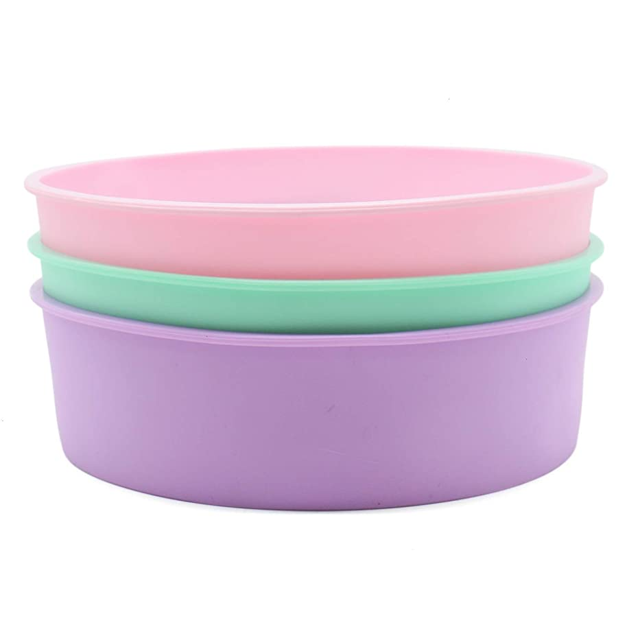 JETEHO 8-Inch Silicone Round Cake Pan Baking Mold ,BPA Free, Non-Stick Silicone,Pack of 2