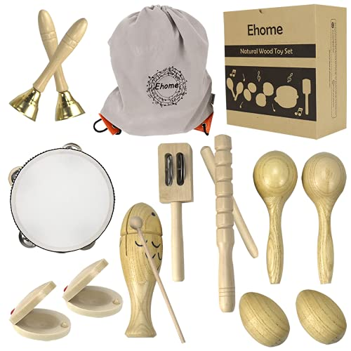 Ehome Toddler Musical Instruments, Natural Wood Percussion Instruments Toy for Kids Preschool Education Baby Musical Toys Instrument Set for Toddlers 1-3 for Boys and Girls with Storage Bag