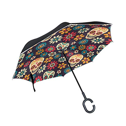 ALAZA Day Of The Dead Sugar Skull Windproof Inverted Open Close Reverse Rain Umbrella Inside Out Quality Waterproof Parasol Upside Down Stick Shelter with Hook c Handle