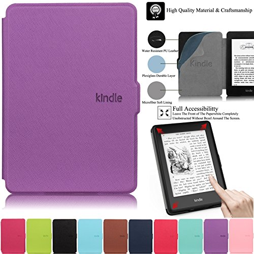 Kindle Paperwhite Case,Artyond PU Leather Case with Auto Wake Sleep Feature Smart Cover Thinnest and Lightest Case for Amazon Kindle Paperwhite (Fits All 2012, 2013, 2015 and 2016 Versions)(Purple)