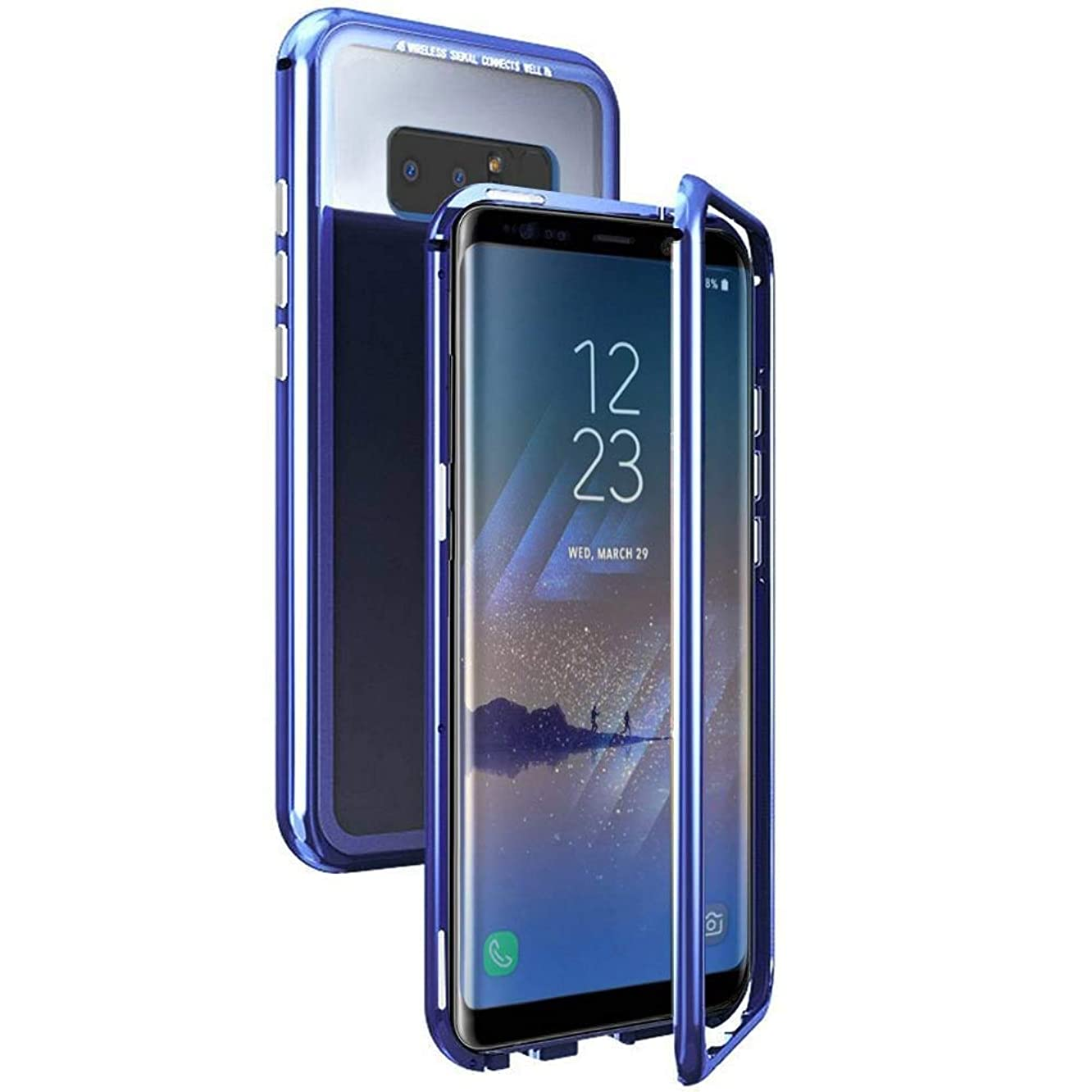 QLTYPRI Samsung Galaxy Note 9 Case, Magnetic Adsorption Metal Case Aluminum 9H Tempered Glass Back Cover [NO Screen Protector] [Support Wireless Charging] for Samsung Galaxy Note 9 - Clear Blue