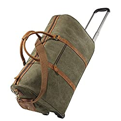 Kattee Luggage Rolling Duffel Bag Leather Trim Canvas Wheeled Travel Bag