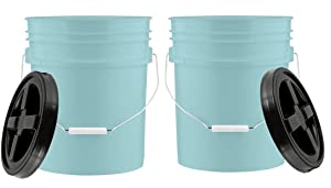 House Naturals 5 Gallon Aqua Food Grade BPA Free Bucket Pail with Black Gamma Screw on Lid ( Pack of 2)