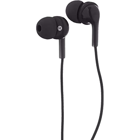 Amazon Basics In-Ear Wired Headphones, Earbuds with Microphone, Black
