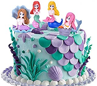 4 pcs Lovely Mermaid Characters Figurines For Ocean Theme Cake Decoration, Cake Toppers or Aquarium Fish Tank Decoration