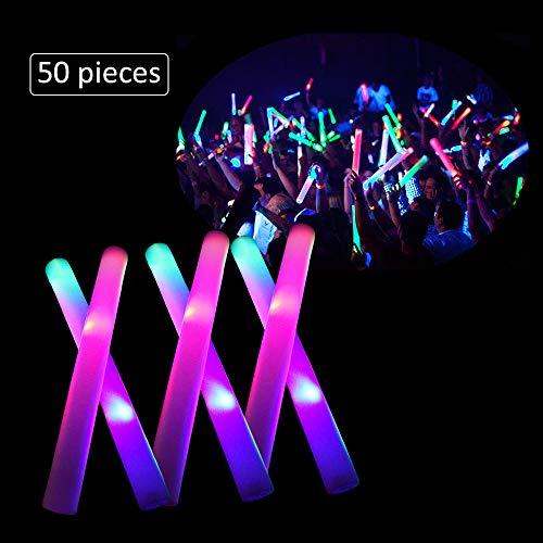"LifBetter 50 PCS/Pack 16"" LED Foam Glow Sticks, 3 Modes Flashing Multicolor Light Up Batons Party Supplies, Festivals, Raves, Birthdays, Children Light Up Toy"