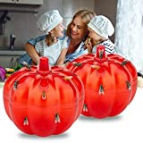 Allinall Fruit Fly Trap,Effective Gnats Trap Indoor Fruit Fly Killer,Easy to Use & Safe Non-Toxic Lure Fly Catcher and Gnat Killer for Indoor/Home/Kitchen/Dining Areas Pumpkin Shape 2 Pack transparent