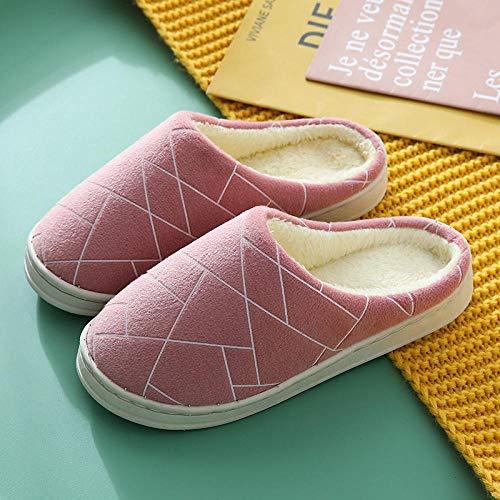 COQUI Pantuflas para damas,Pantuflas de algodón de las mujeres de invierno casa antideslizante suela gruesa cálida pareja zapatillas de color burdeos (textura)_36-37