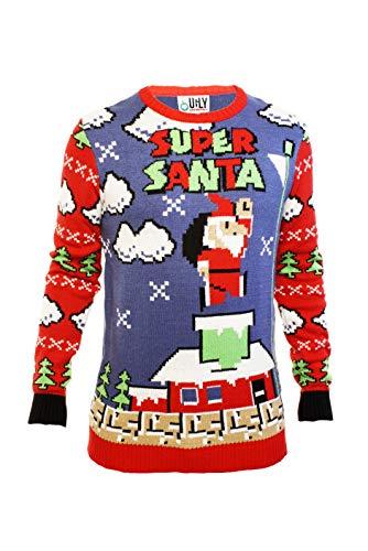 Ugly Christmas Party Sweater Men's- Unisex Super Santa Mario Parody-4XL Super Santa Blue