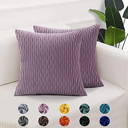 CAROMIO Rosalila - Juego de 2 fundas de cojín decorativas cuadradas para sofá, dormitorio, 40 x 40 cm