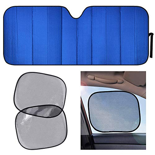 Motor Trend Front Windshield Shade with Static Cling Side Window Shade-Jumbo Accordion Folding Auto Sunshade for Car Truck SUV-Blocks UV Rays Sun Visor Protector-Keeps Your Vehicle Cool-66 x 27 Inch