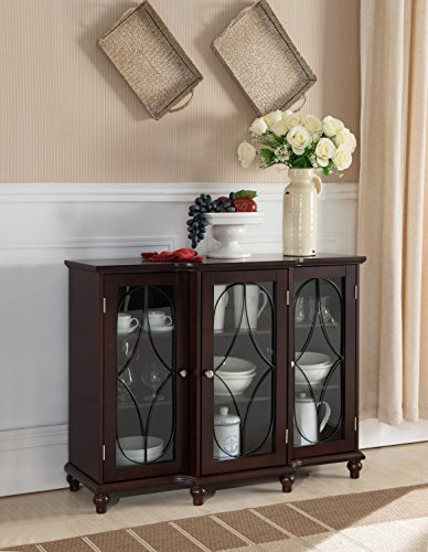Kings Brand Furniture - Wood Storage Sideboard Buffet Cabinet Console Table, Cherry