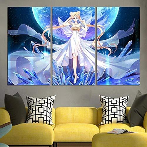 Gyybfhn Impresión HD Lienzo Pintura Moderno HD Modular 3 Piezas Impreso Pintura Sala Estar Decoración del Hogar Póster Cuadro Lienzo Regalo 50x70x3(Marco) Sailor Mo Princesa Cristal Serenity