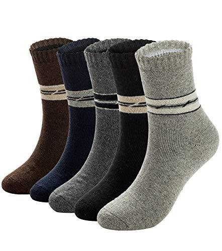 Mens Warm Wool Socks Thick Winter Hiking Stripe Wool Crew Socks (A-Mix_2 Stripes,5 Pairs)