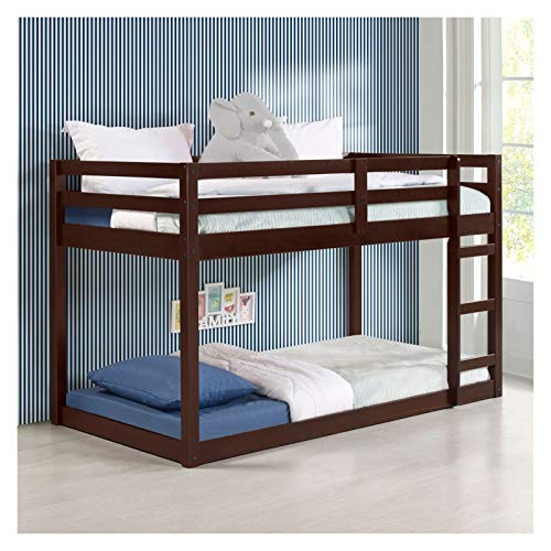 Gaston Loft Bed in Espresso with Multifunctional Base and Built-in Ladder for Family Bedroom and Student Apartment Low Raised Bed is a Good Choice for Children U.s. Local Delivery Can Arrive Quickly