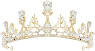 Queen Crown Pearl Tiara Wedding Queen Princess Crown for Women Girls bride Mermaid Wedding Headbands Rhinestone Crystal Headpiece for Pageant, Prom and Party(Gold)
