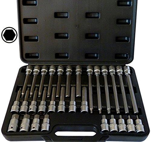 """SYTO24, 30tlg. Innen-Sechskant (+15% Härtegrad, da S2-Stahl) 1/2"""" Steckschlüssel-Satz, 5-19mm Bit-Einsatz Werkzeug"""