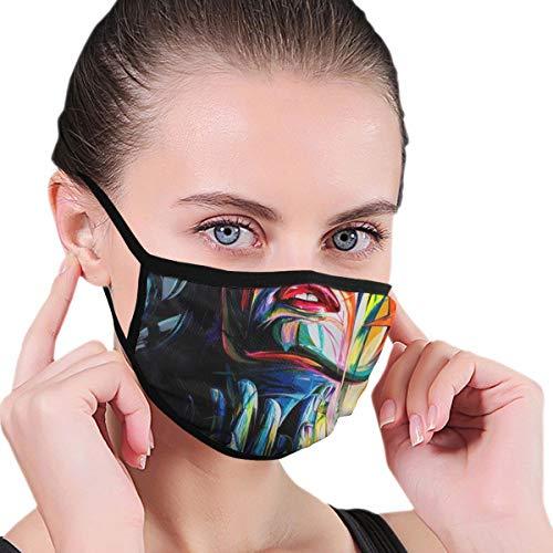 PANILUR Gesichtsbedeckung,Graffiti Ölgemälde der modernen Kunst,eine schöne und Elegante Frau,Rot Blau Gelb,Sturmhaube Unisex Wiederverwendbar Winddicht Staubschutz Mund Bandanas Outdoor Camping