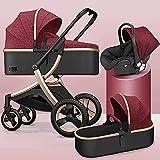 Sistema de viaje de cochecito de bebé plegable 3 en 1 carro compacto de bebé con reposabrazos extraíble y petimpufe, baby shock absorción de strings springs de la vista alta vista con canasta de bebé