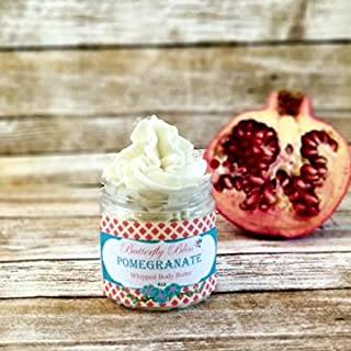 Pomegranate Whipped Body Butter, natural lotion, organic, 4oz jar, made with shea butter, mango butter, coconut oil, almond oil