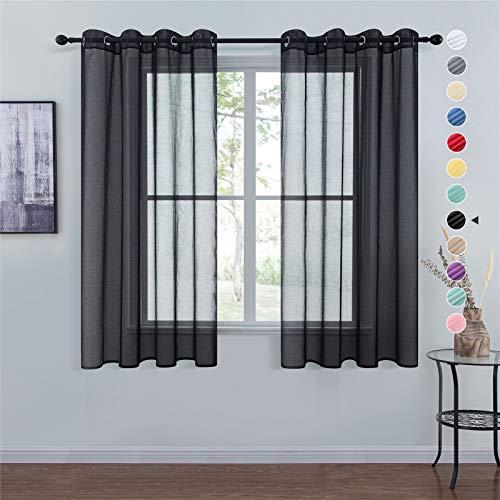 Topfinel Voile Vorhänge Leinenstruktur mit Ösen Durchsichtig Einfarbig für Fenster Wohnzimmer Schlafzimmer...