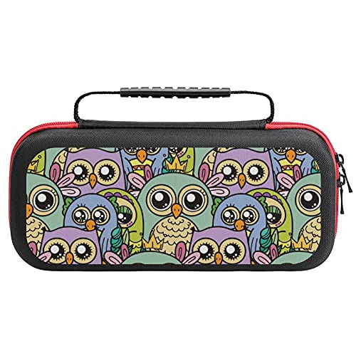 Cute Cartoon Owls And Furry Owlets Printed Carrying Case Storage Bag For Nintendo Switch Lite & Accessories Travel Portable