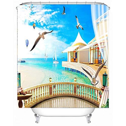 LYzpf Duschvorhang Moderner 3D Landschaft Badzubehör aus Polyestergewebe Mode Hübsche Badezimmervorhänge für die Innendekoration Fensterbehandlung,Balloon,180cm*180cm