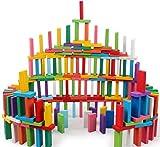 YIQI Set di Blocchi di Domino in Legno colorato 120 Pezzi, Gioco educativo per Bambini, Gioco di Giocattoli da Corsa Domino