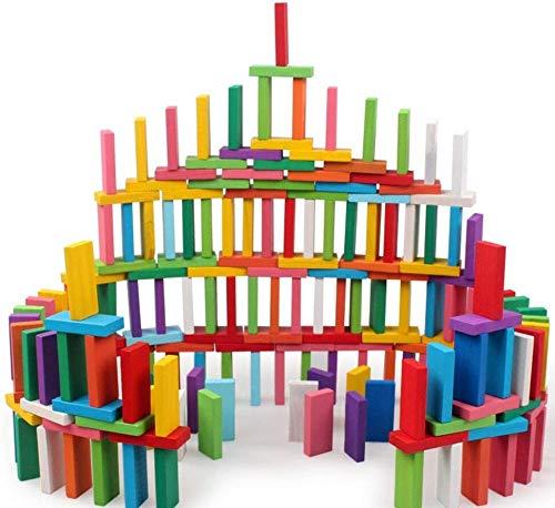 WANGZAIZAI Juego de Bloques de dominó de Madera de 120 Piezas para niños, Edificio Educativo temprano, Divertido Juego de Carreras de dominó, Juguete, Regalo de cumpleaños para niños, niñas y niños