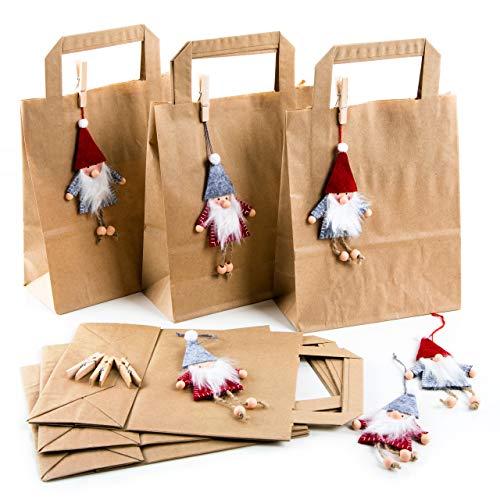 Logbuch-Verlag 6 Weihnachtstüten braune Papiertüten 18 x 8 x 22 cm + Wichtelanhänger aus Filz rot grau + 6 Holzklammern Geschenkverpackung Weihnachten