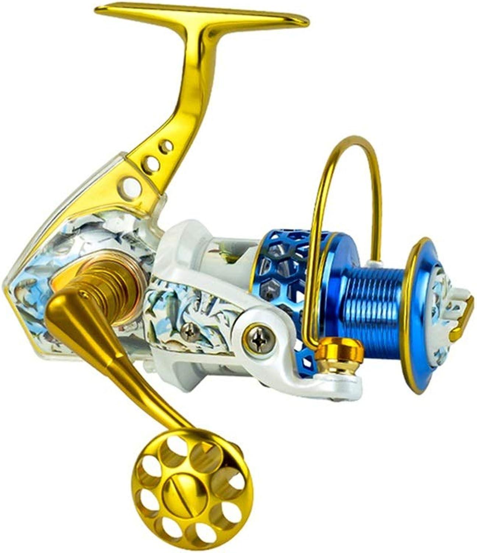 LLJPYX7L Angelrolle mit 15 Lagern, Goldfarben, geeignet für Seefischerei, Outdoor-Angeln, leistungsstarke Angelrolle, Kipphebel Links rechts austauschbar (Farbe   4000)