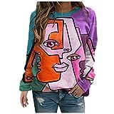 Blusa para mujer, blusa de manga larga, jersey elegante, otoño, invierno, estampado abstracto, cuello redondo, suelto, túnica, de gran tamaño, tallas grandes, tallas S-3XL Rosa. XXL