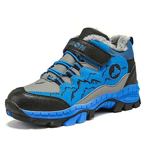 Anokar Wanderschuhe Jungen Trekking Schuhe Wanderstiefel Kinder Winterschuhe Warm Gefüttert Stiefel Schnee Outdoor Camping rutschfeste, 37 EU, Blau