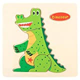 Cloudro Baby Educational Toys,Wooden Jigsaw Puzzles Early Learning Toy for Boys and Girls Gift,Cute Animals (Dinosaur)