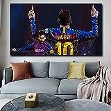 UIOLK Joueur de Football étoile Lionel Messi Affiche Toile Peinture Sport Toile Peinture Mur Art Photo Enfants Chambre décoration décoration de la Maison