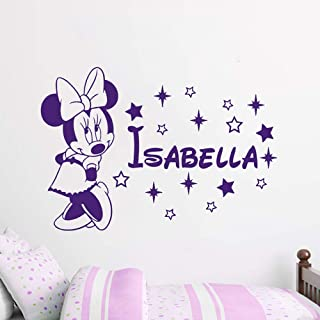 Name Wall Decal Minnie Mouse Vinyl Decals Sticker Custom Decals Personalized Baby Girl Name Decor Bedroom Nursery Baby Room Decor ZX57