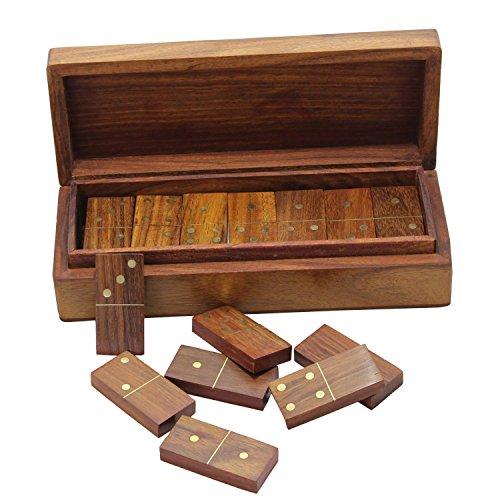 RoyaltyRoute giochi Dominos giochi in legno set 28 doppie sei piastrelle con contenitore di stoccaggio