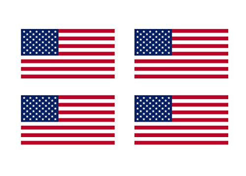 "4 Pack American Flag Patriotic Stars and Stripes Auto Decal Bumper Sticker 5x3"" - Industrial Strength Vinyl Decal For Cars, Trucks, RV, SUV's & Boats - Support US Military (4x Original)"